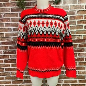 Vintage Red Over Sized Sweater, Unisex, M